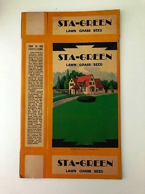 Collectible STA-GREEN Lawn Grass Seed Cardboard Box, Unused