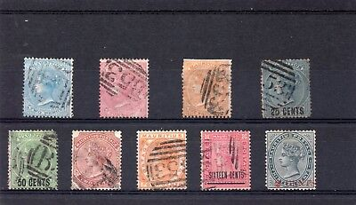 Mauritius QV vals between SG 59-117 fair to fine used.Cat £144 SG 117 is mint