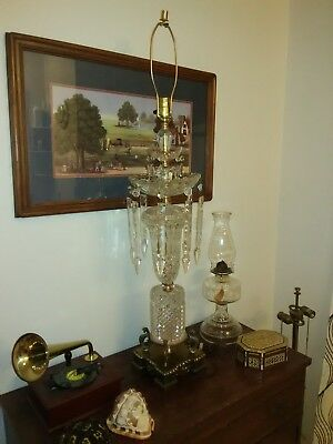 Vintage Crystal and Brass Hollywood Regency Table Lamp