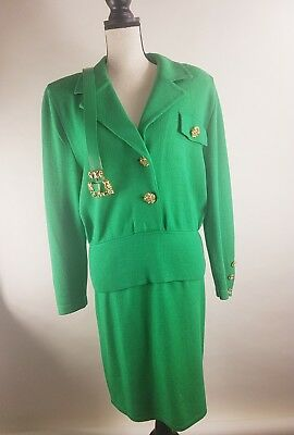 Vintage St. John collection By Marie Gray Skirt Suit Green