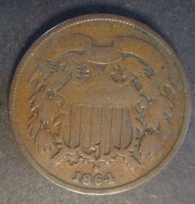 1864 US 2 cent copper coin circulated