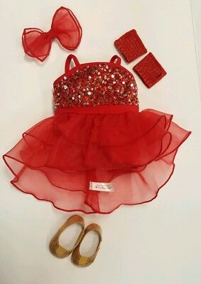 "NICE! American Girl TRULY ME SPARKLY JAZZ OUTFIT for 18"" Dolls Dance Red"