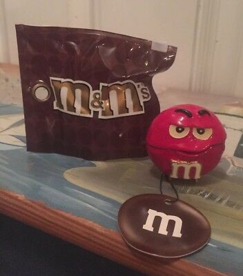 Red M&M Big Face Monet Trinket Box Hinged Enameled  New In Package