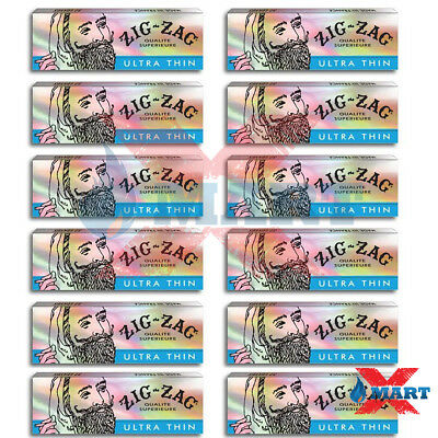 Zig Zag Ultra Thin 1 1/4 Cigarette Rolling Papers 12 Packs - 32 Leaves Per Pack
