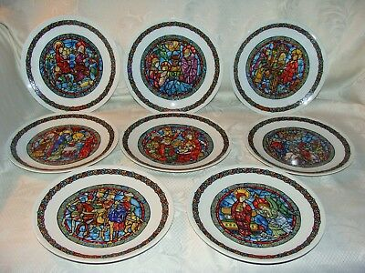 Darceau Limoges Noel Vitrail Stained Glass CHRISTMAS PLATES  COMPLETE SET OF 8