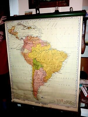 Vintage antique Denoya Geppert Pull down Map of South America 1941 edition