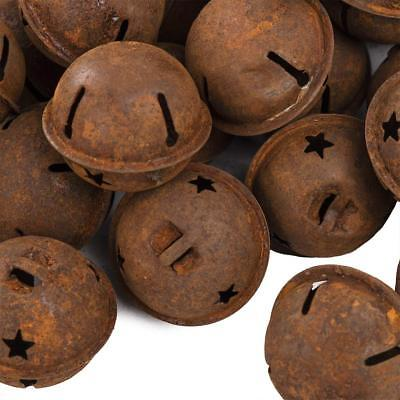"""20 Rusty Metal Star Cutout Jingle Bells 1.5"""" 1 1/2 in Holiday Decoration 38-40mm"""