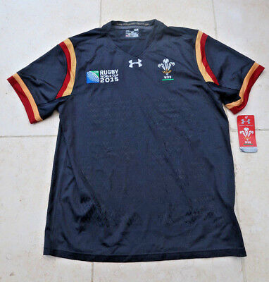 New Wales Rugby Shirt L Men Top RWC World Cup Loose Welsh 2015 Under Armour Grey