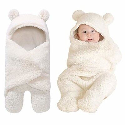 Cute Baby Receiving Blanket, Hooded Cotton Plush Swaddle Blanket