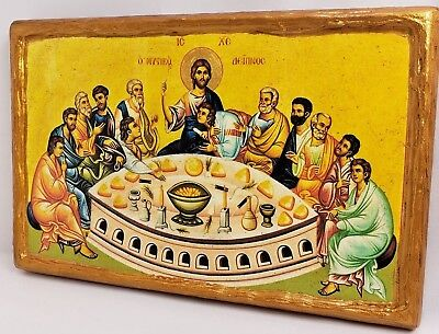 Last Supper Mystikos Deipnos Mount Athos Greek Orthodox Byzantine Icon on Wood