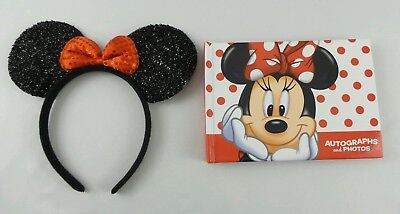 Disney Parks Minnie Mouse Autograph Photo Book & Minnie Mouse Ears Headband