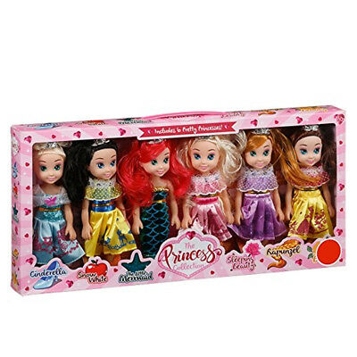 New The Pretty Princess Doll Collection Set of 6 Disney princess Dolls