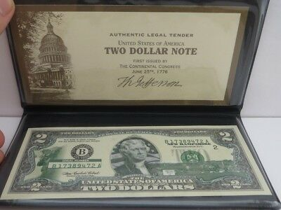 New Hampshire $2 Two Dollar Bill Colorized State Landmark Uncirculated Authentic