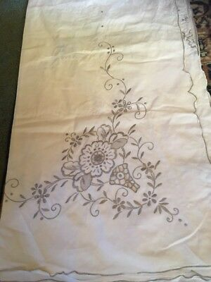 handmade vintage embroidered edge tablecloth  handwork 50s era 340 X 180
