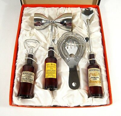 4 pc VINTAGE BAR SET SEAGRAMS DICE Jigger Bottle OPENER Stir SPOON Strainer