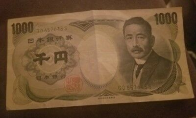 Vintage Japanese Currency 1000 Yen NIPPON GINKO Banknote Circulated