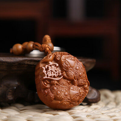 Wood Carving Chinese Double Wealth Frog Statue Sculpture Pendant Key Chain QU