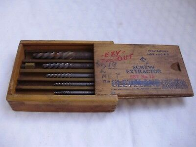 Vintage Ezy-out Screw Extractor Set No.15 in Original Wood Box Cleveland