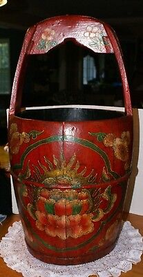 "Large Vintage RED Painted Wooden Bucket Pail 14.5""H FIXED HANDLE TO HANG 14""D"