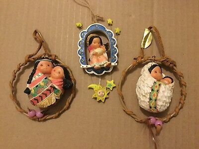 Lot of 3 FRIENDS OF THE FEATHER ORNAMENTS Woman & Child -Nativity - 1996