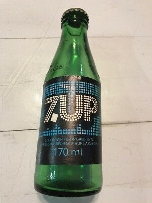 Vintage Mini 170ml 7up Bottle Rare Green Glass Blue And Black Label