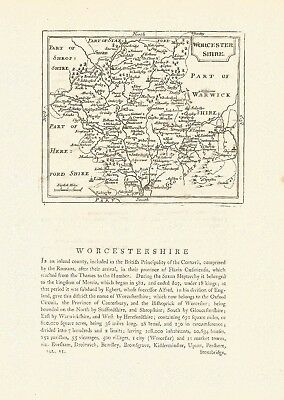 An antique map of Worcestershire - 18th century