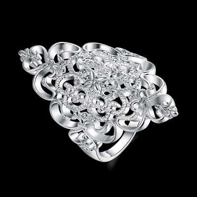 Fashion 925 Silver plated Jewelry Beauty Flower Rings For Women R807