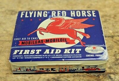 Mobilgas Mobiloil Metal First Aid Kit Flying Red Horse GREAT GRAPHICS!!