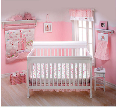 Baby Girl Crib Bedding Sets Nursery Pink Princess Happily Ever After 7 Pieces
