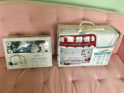 KIDSLINE ROAD MAP Crib Bedding Set with Matching Mobile 5Pcs  NEW