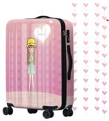 D868 Lock Universal Wheel Pink Cartoon Girl Travel Suitcase Luggage 20 Inches W
