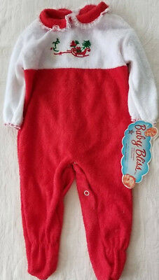 Vintage Made in USA One Piece Baby Sleeper Bodysuit 6 Mo Christmas NWT