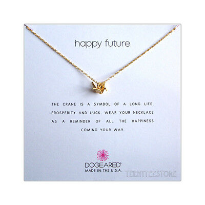 """Dogeared 14K Gold Dipped Origami Crane & 16""""+ 2"""" Ex. HAPPY FUTURE Necklace Boxed"""