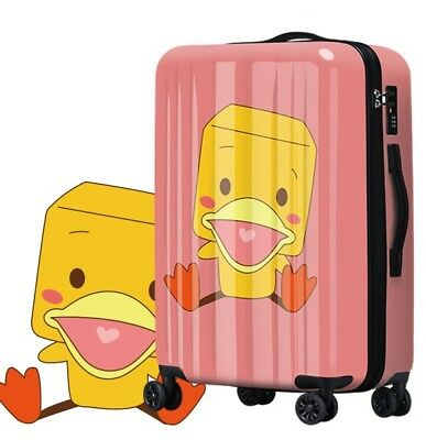 D96 Lock Universal Wheel Duck Pattern Travel Suitcase Cabin Luggage 20 Inches W