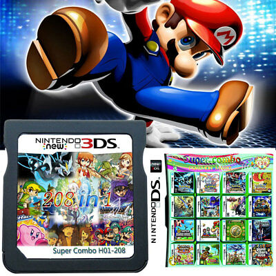 208 in 1 Game Cartridge Multicart Support DS NDS NDSL NDSi 2DS 3DS All System