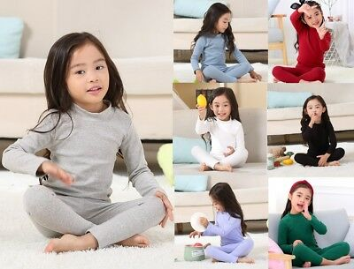 Kids Girls Thermal Underwear sets Two Piece Long Sleeved Shirts and Pants 2-7 Ys