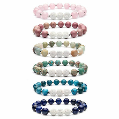 12pcs lots 8mm Beads Natural Aromatherapy Lava Stone Healing Bracelet for Women