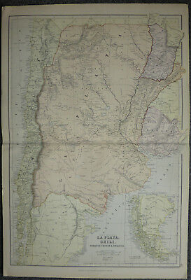 Edward Weller map of Argentina Chili Paraguay Uruguay Patagonia c1864