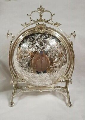 Victorian Style Shell Silver Plate Biscuit Box Large ~ Cookie Basket ~ Candy