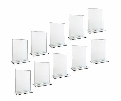 Beryland Acrylic Sign Holder - 5 x 7 inches - Side Insert, 10-Pack of Sign