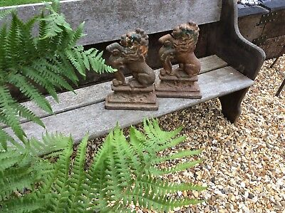 Two Large pair of Cast Iron Rampant Lion Door Stops Keepers garden