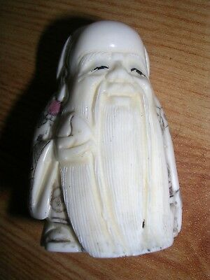 Japanese/chinese Hand Carved Netsuke Of A Old Man  ,signed On Base