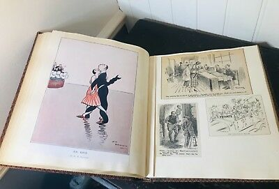 WW1 Book Cartoons, Punch Articles 1917 to 1930s, Scrapbook, leather bound Book