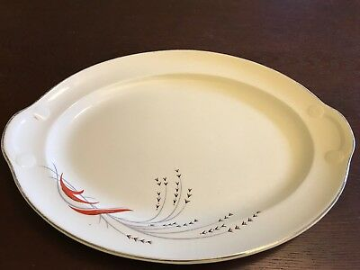 Taylor Smith Taylor Mid Century Modern Black Wheat Pattern Serving Platter U.S.A