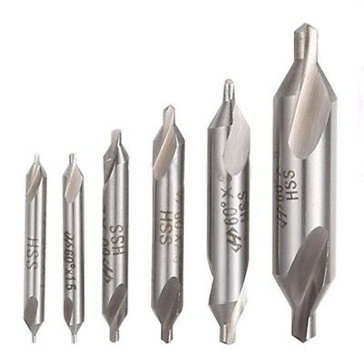 6 pcs High Speed Steel Center Drill Bits Set Combined Countersinks Kit 60° 1-5mm