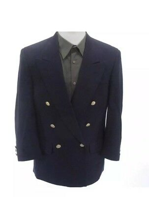Vintage Burberrys London Mens Navy Blue Double Breasted Blazer 100% Pure Wool 44