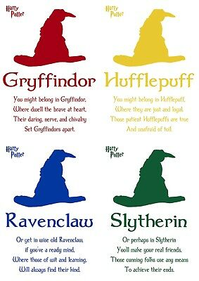 Harry Potter All 4 Houses Movie Print Sorting Hat Quote - CHRISTMAS SALE - A5