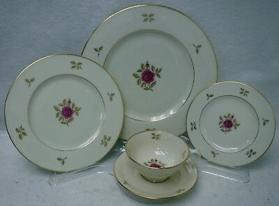 LENOX china RHODORA pattern 5-piece Place Setting -cup saucer dinner salad bread