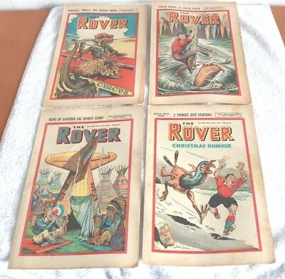 """Last  4   """" The  Rover  Comics """".......1947...including  Xmas  Issue"""
