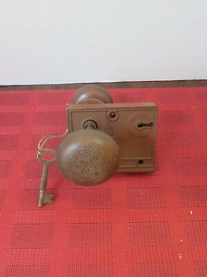 """An Antique Working Door Lock With Knobs And Key  No Brand Markings""""... Very Nice"""